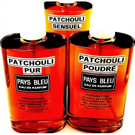 LES 3 PREMIERS PATCHOULIS - 3 EAUX DE PARFUM (215ml Soit : 100ml PATCH. PUR + 100ml PATCH. POUDRÉ + 15ml PATCH. SENSUEL Offert)